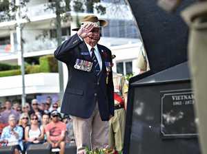 Maroochydore ANZAC Ceremony.Hayden Kenny lays a