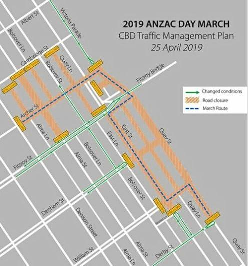 ANZAC Day March Route: Assembly at 9am, step off at 9.57am from intersection of Archer and Alma Streets. March moves along Archer Street, turns right into Victoria Parade, under Fitzroy Bridge, right into Fitzroy Street, left into and along East Street, left into William Street and right into Quay Street as directed by traffic controllers.