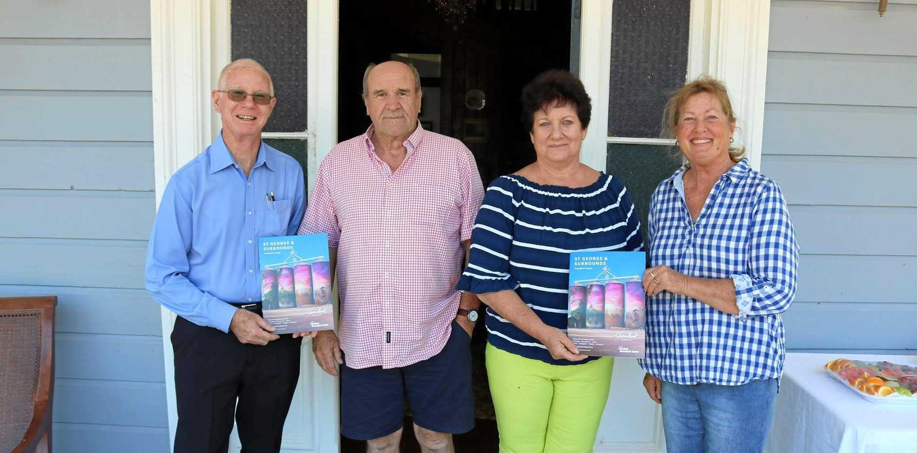PROUD LOCALS: Mayor Richard Marsh, John Teunis, Robyn Fuhrmeister, Janice Teunis at the Anchorage for the launch of the new Balonne Shire Council tourism brochure.