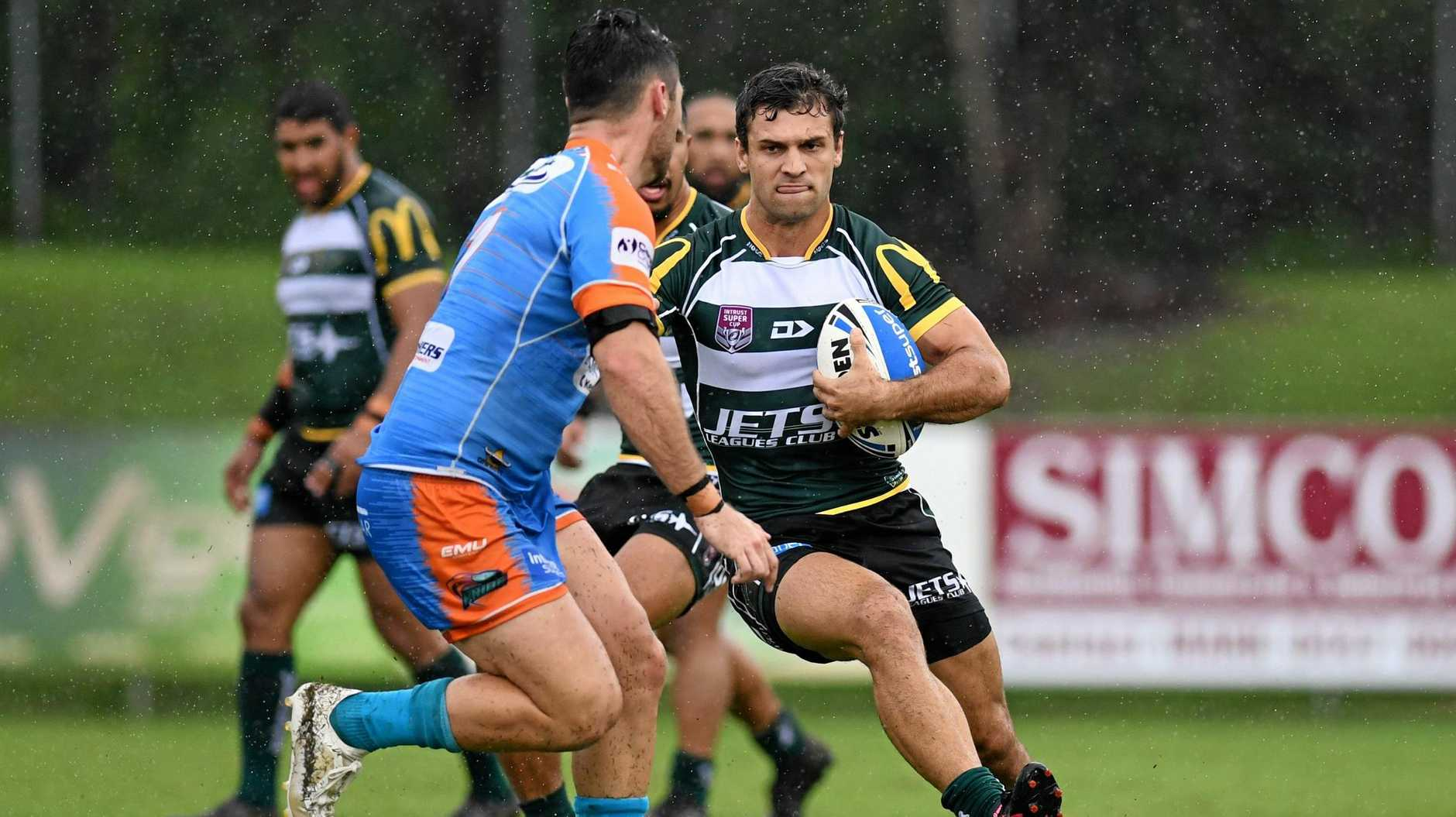 MASSIVE MOVE: Ipswich Jet Rory Humphreys made a decisive run in last weekend's historic victory over the PNG Hunters.