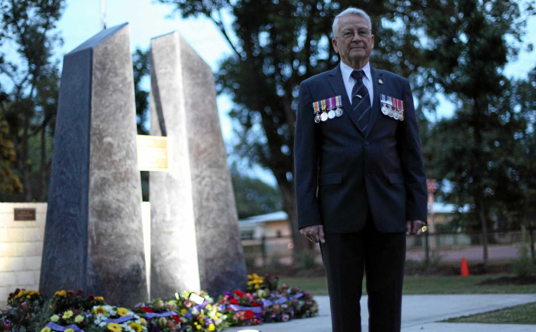 Ex-RAAF serviceman Gordon Forysth at Peak Crossing's inaugural Anzac Day service.