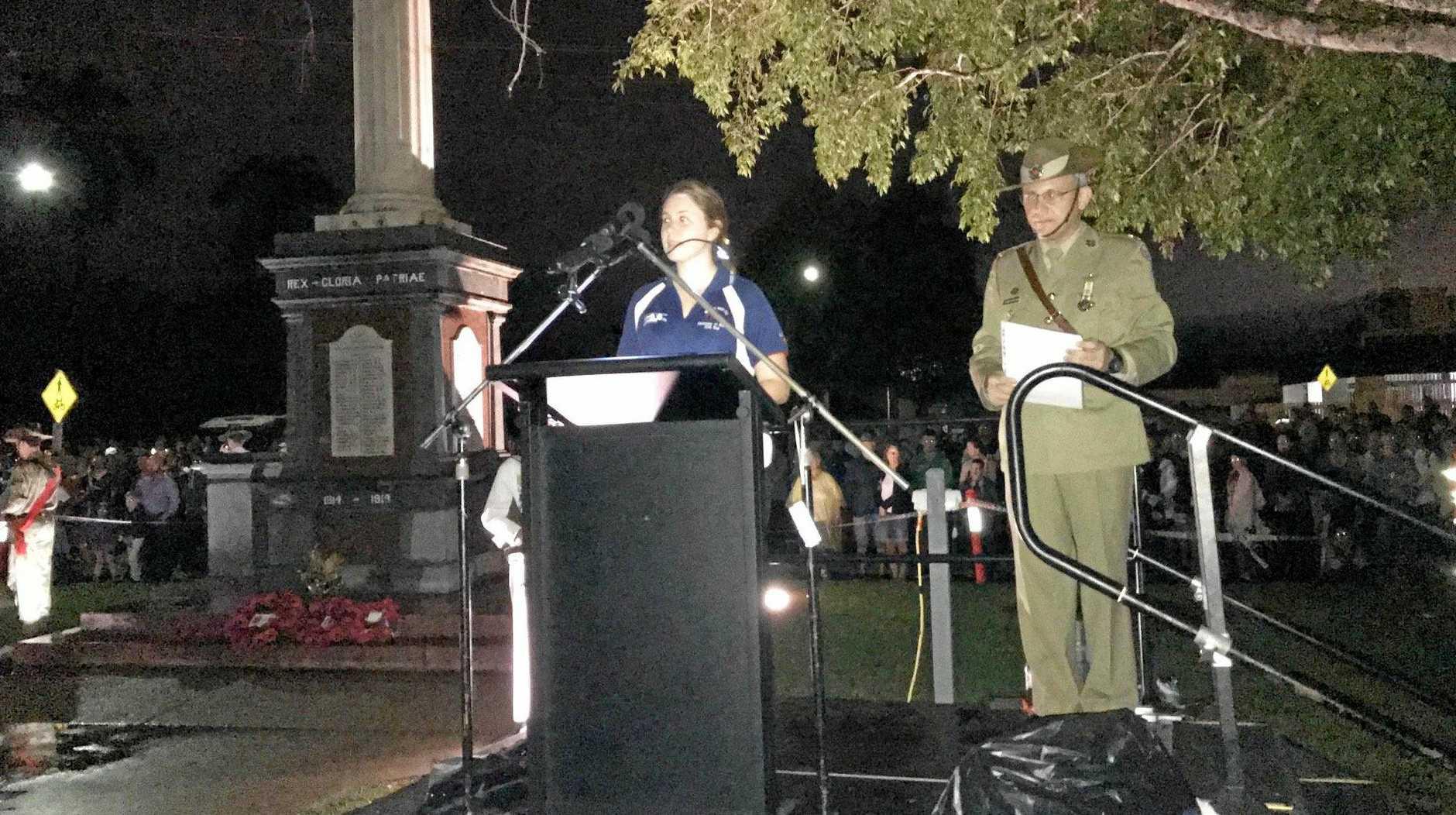 Emma Cameron speaks at the Mackay Dawn Service