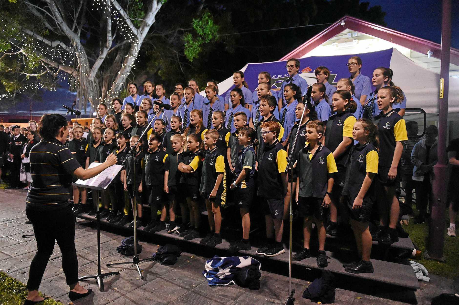 ANZAC day dawn service in Hervey Bay - Xavier Choir.