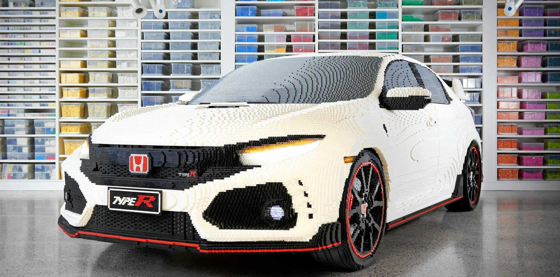The Honda Civic Type R has been transformed into a life-size Lego model.