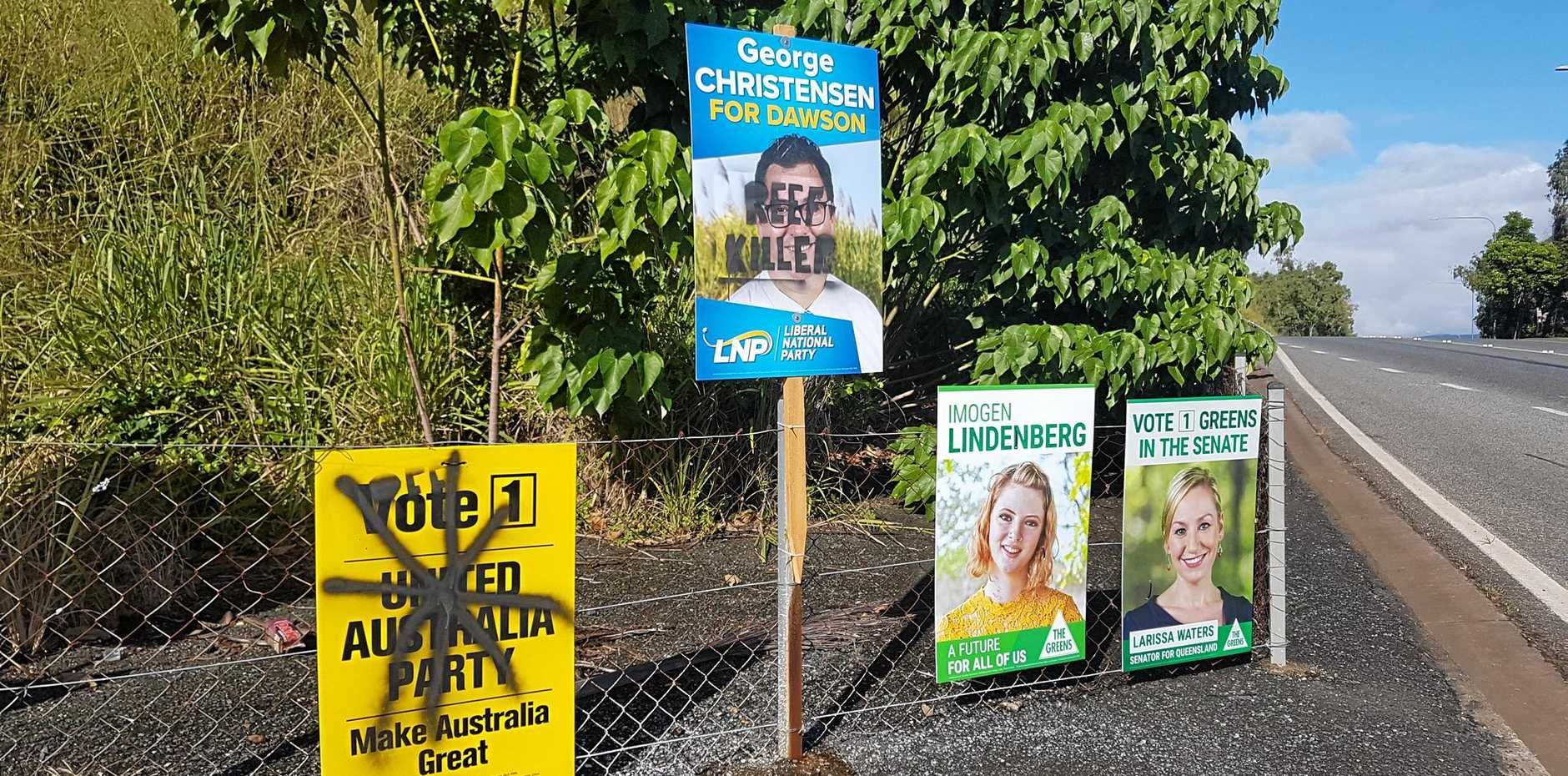 Dawson election candidate signs have been vandalised in Airlie Beach.