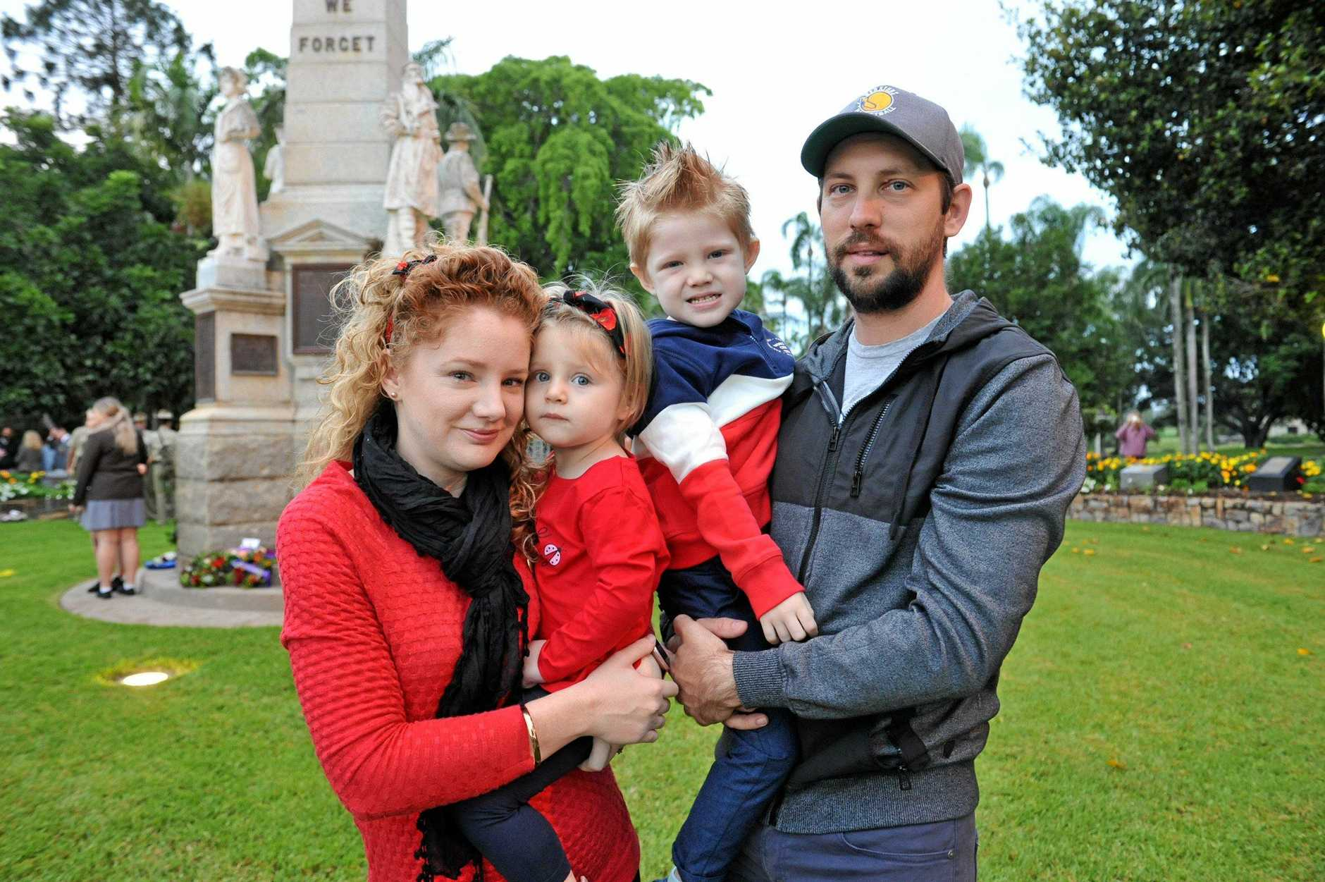Patrick and Jessi Scanlon from Maryborough with their children Winter, 2, and Parker, 3, were up early to pay their respects to the fallen at this year's Maryborough Anzac Day dawn service.