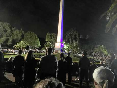 DAWN SERVICE: Hundreds turned out to mark ANZAC Day at the Rockhampton Botanic Gardens this morning.