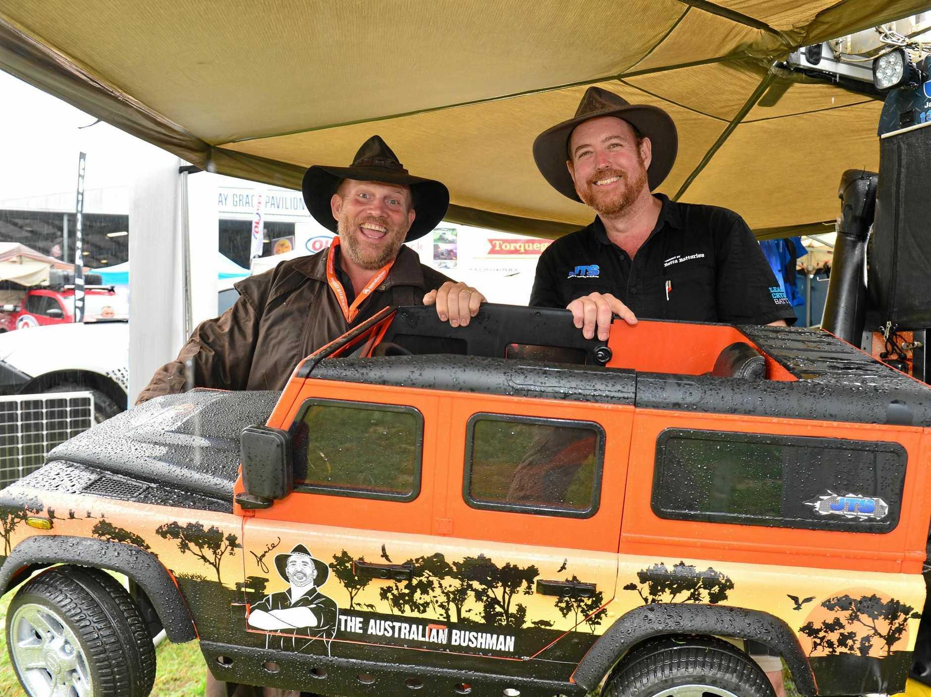 OUTDOOR ADVENTURERS: Jamie Hazelden and Ben Sexton at last year's South Queensland Caravan, Camping, Fishing and 4x4 Expo in Nambour.
