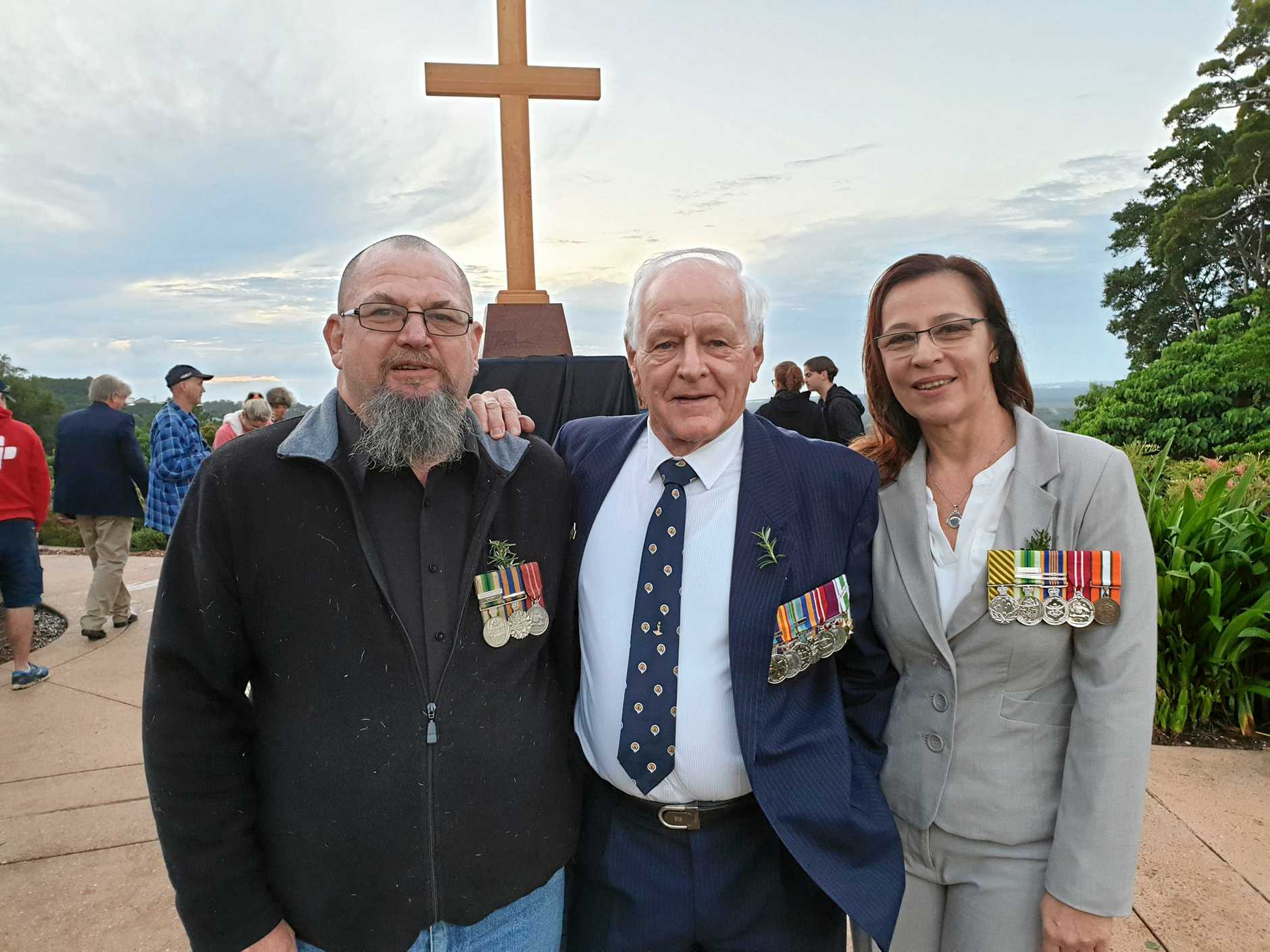 Ex-servicemen and women Stuart, Laurie and Bronwyn Johnstone came to the Buderim dawn service as a family.
