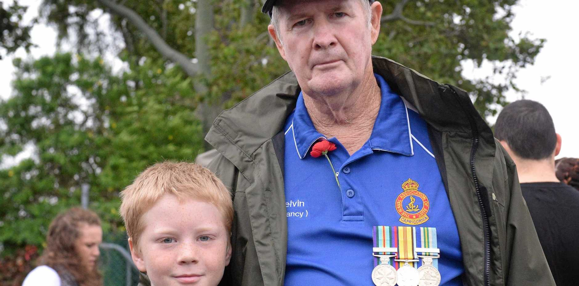 Parker and Kelvin Carolan at the Rockhampton Anzac Day parade.