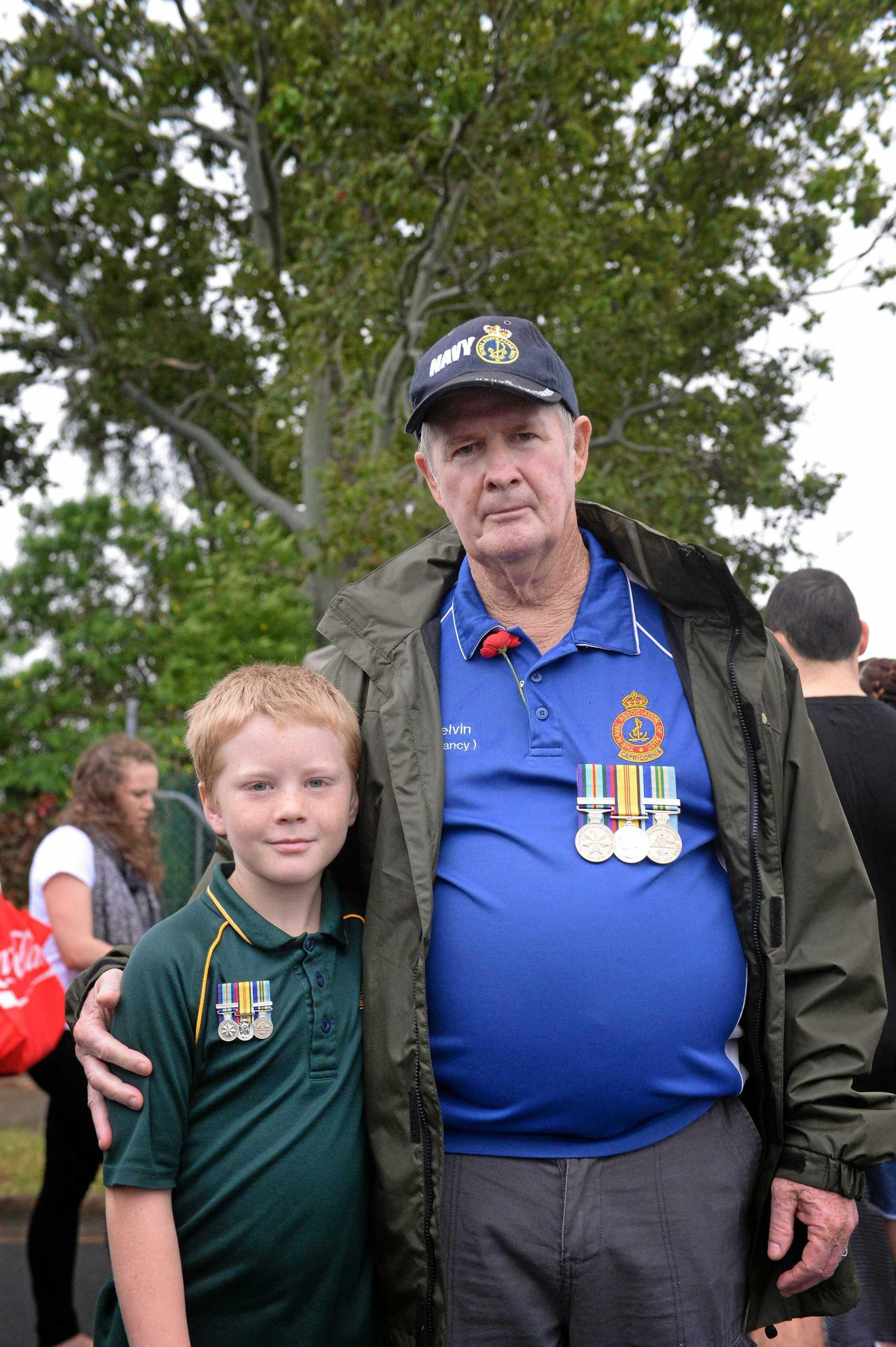 Parker and Kelvin Carolan at the Rockhampton Anzac Day parade.