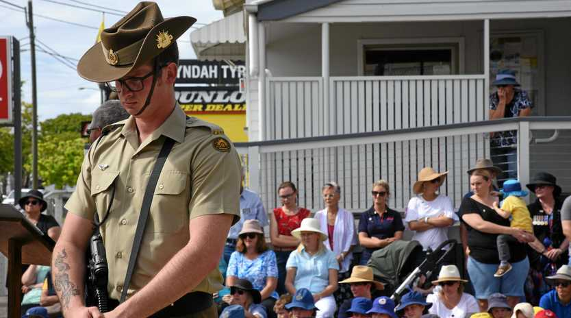 LEST WE FORGET: A member of the 2nd Combat Engineers Regiment at Gayndah's Anzac Day 2019 ceremony.