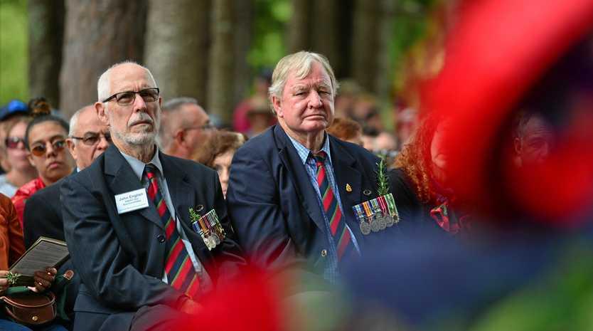 STRONG BOND: John English and Alan Chandler at the Buderim Anzac Day main service.