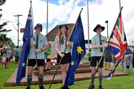 Proserpine State High School students Max Nosworthy, Jacquelyn Watts and Ethan Saward took part in the Anzac Day march.