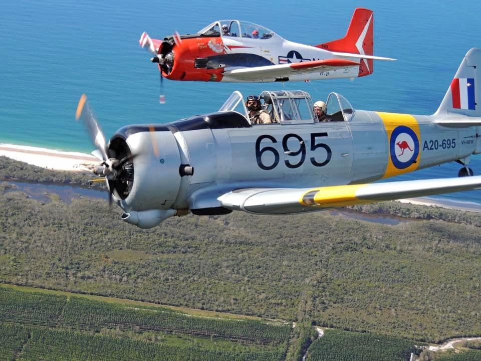 FLY OVER: Gympie residents witnessed the T-28 Trojan fly over Gympie multiple times during the Anzac Day ceremony today,  Please note: This photo was taken last year.