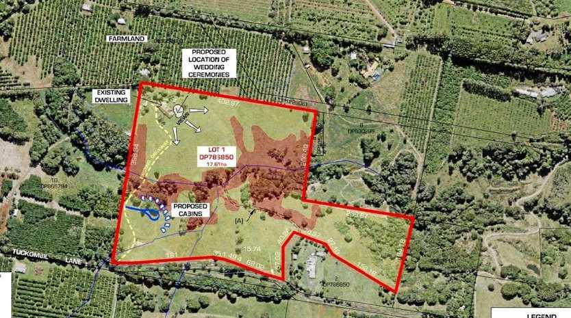 Ballina Shire Council is considering a DA for a temporary wedding venue on Tuckombil Lane.