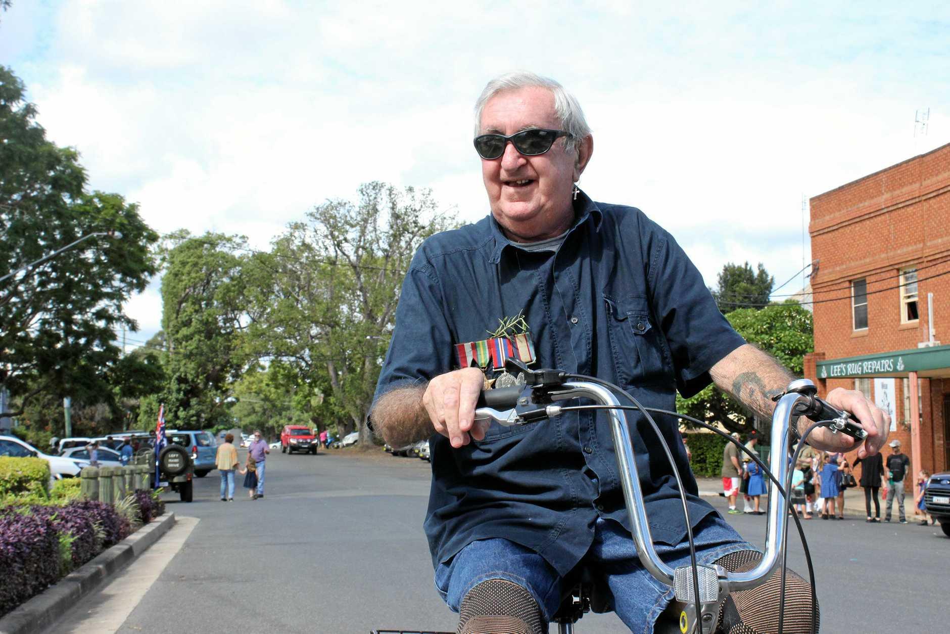 John O'Shea on his trike at the South Grafton Anzac day service