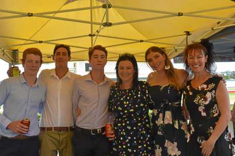 At the most recent Gympie race day (from left) Tom Cross, Beau Niesler, Ned Strachan, Gympie Times Editor Shelley Strachan, Meg Cross and Toni Garrett.