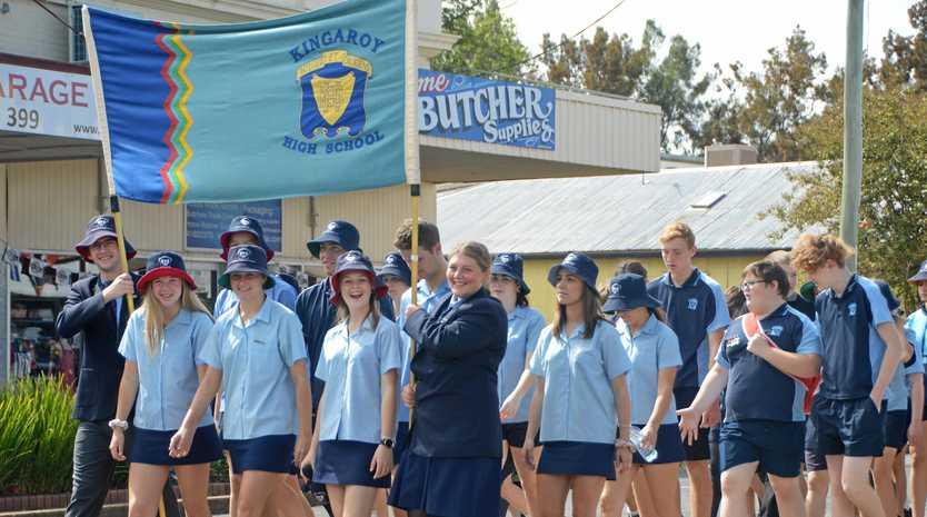 Kingaroy State High School students march in Kingaroy.