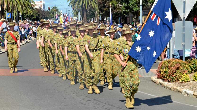 The 17 Australian Army Cadet Unit at the Warwick Anzac Day parade, 2019.