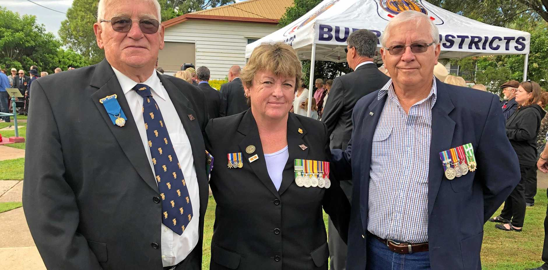 LEST WE FORGET: Veterans Gary Conyers, Denise Helliwell and Phil McIntyre commemorated Anzac Day in Howard.