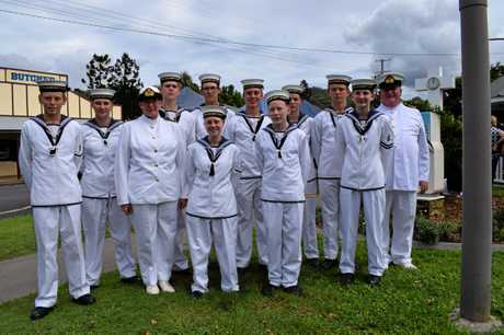 Naval cadets (back row) Kyria-Lee Rixon, Micah Bromley, Taylor Auld, Frank Kaddatz, Emmah Vitetta, Beau Armstrong and David Tomkinson, with (front row) Jason Vitetta, Sub Lt Carolyn Tomkins, Camille Britten, Liam Corbett, Cheyenne Tomkinson were an important part of the ceremony.