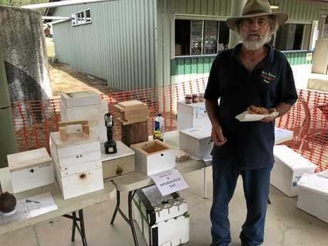 Mount Perry local Wayne Allen with his Native Bee Display.