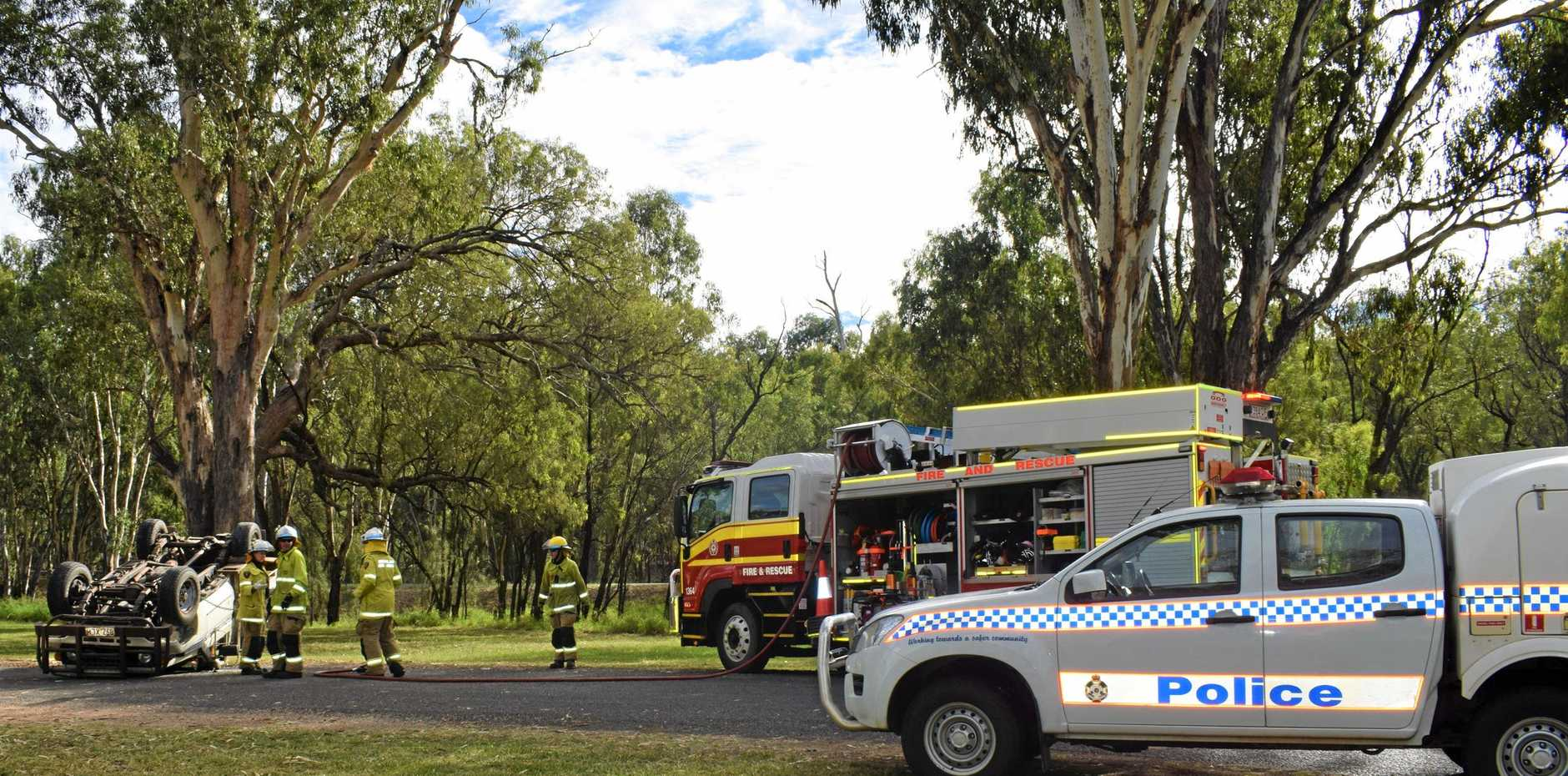 JOY RIDE REGRETS: Three young men have walked away from a single vehicle rollover at the Chinchilla Weir this afternoon.