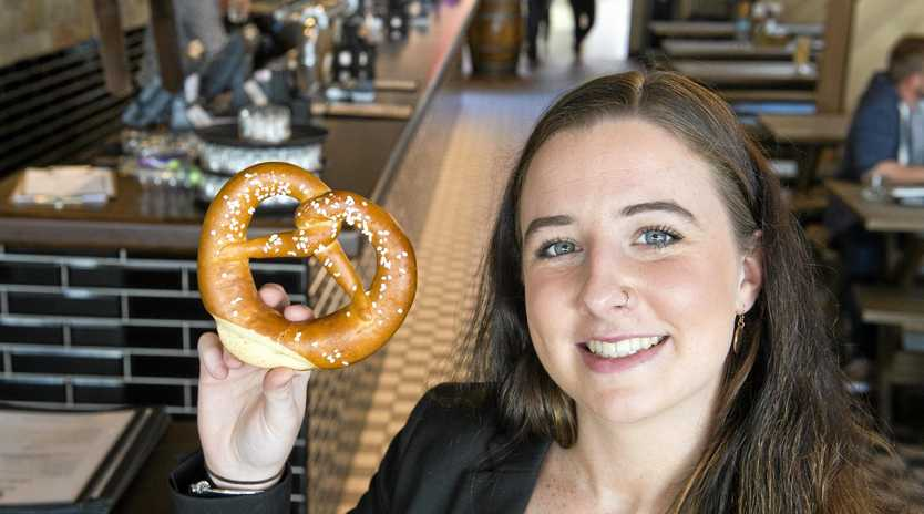 LOGICAL CHOICE: The Bavarian Toowoomba's assistant manager Alison Chant will be celebrating National Pretzel Day with customers today.