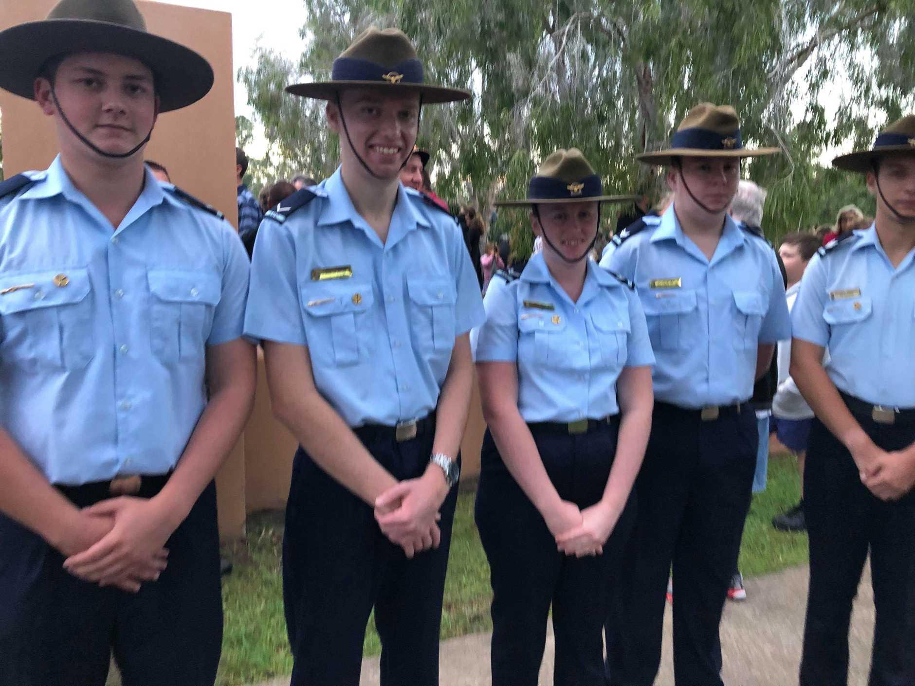 Maryborough's airforce cadets at Tinana Park on Anzac Day 2019.