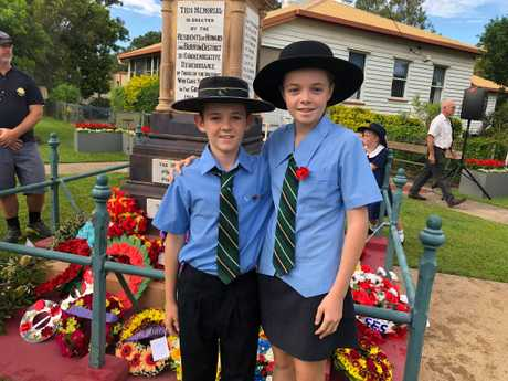 Harry, 12 and Charlotte, 13, Davies from Xavier Catholic College attend the Howard service.
