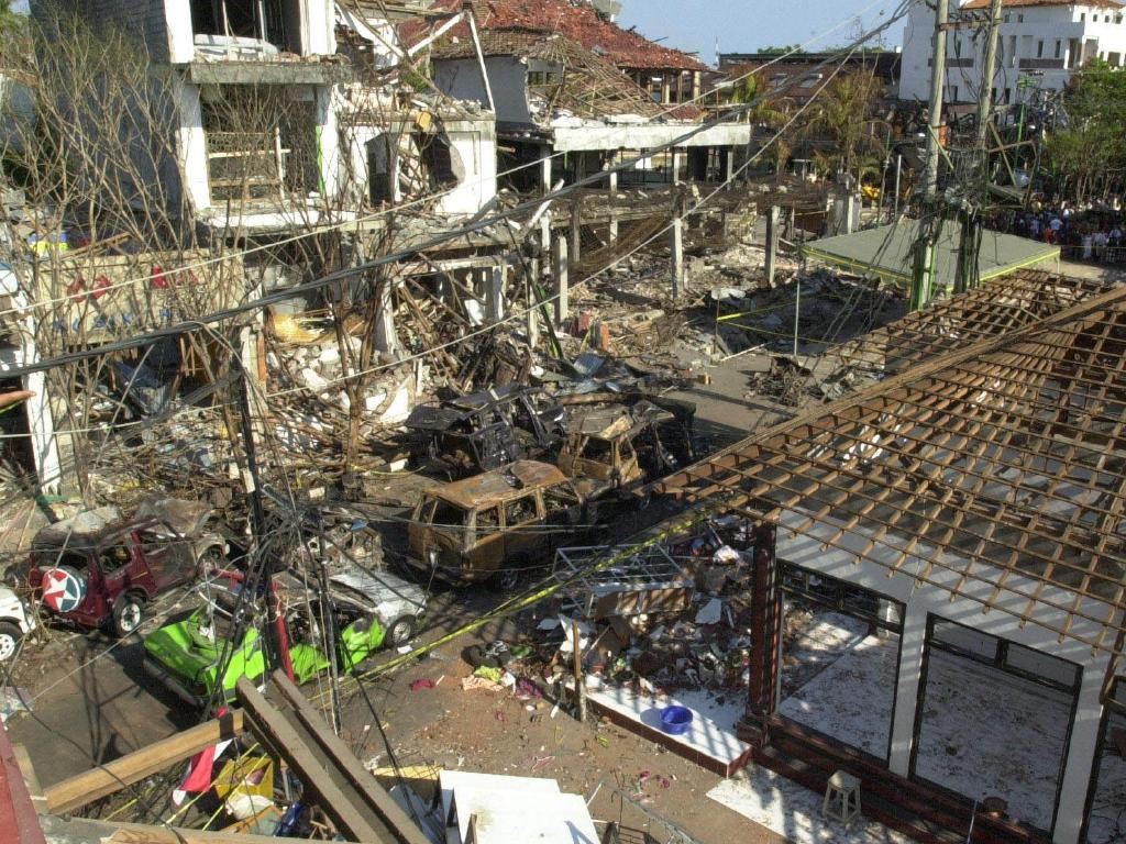 Remains of the Sari Club in Bali one week after a bomb destroyed the area. Picture: Nathan Edwards