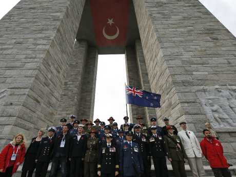 Members of New Zealand armed forces at Mehmetcik monument in the Gallipoli peninsula, Turkey, Tuesday, Wednesday, April 24, 2019. Picture: AP