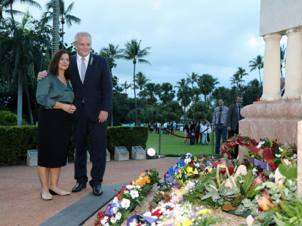 Scott Morrison and his wife Jenny attended the Dawn service in Townsville. Picture: Gary Ramage