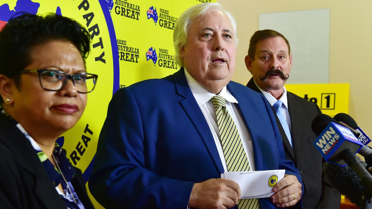 United Australia Party Yodie Batzke, Clive Palmer, Martin Brewster. Picture: Shae Beplate.