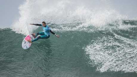 Sally Fitzgibbons has been eliminated from the Bells Beach event. Picture: Matt Dunbar/WSL via Getty Images