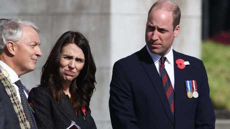 Prince William with Prime Minister Jacinda Ardern and Mayor Phil Goff at the Auckland War Memorial Museum. Picture: Getty