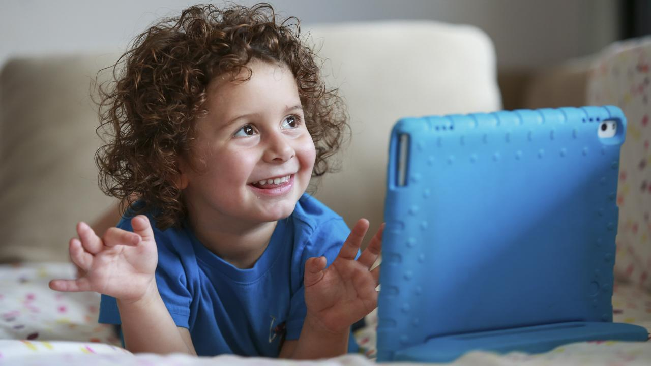 Jonathan Khourouzian, 3, at home in Willoughby. Picture: Justin Lloyd