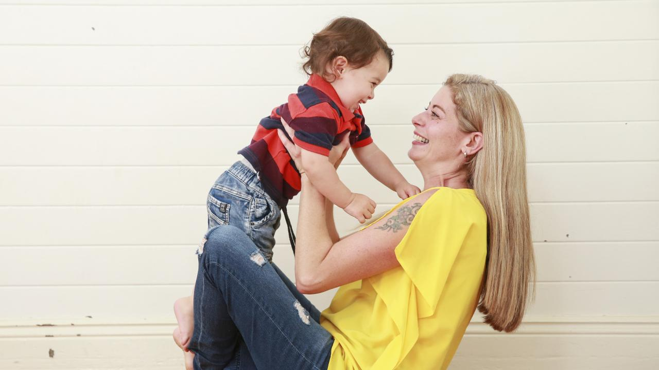 Sebastian, 16 months, and Patti Khourouzian, 16 months, at home in Willoughby Picture: Justin Lloyd.