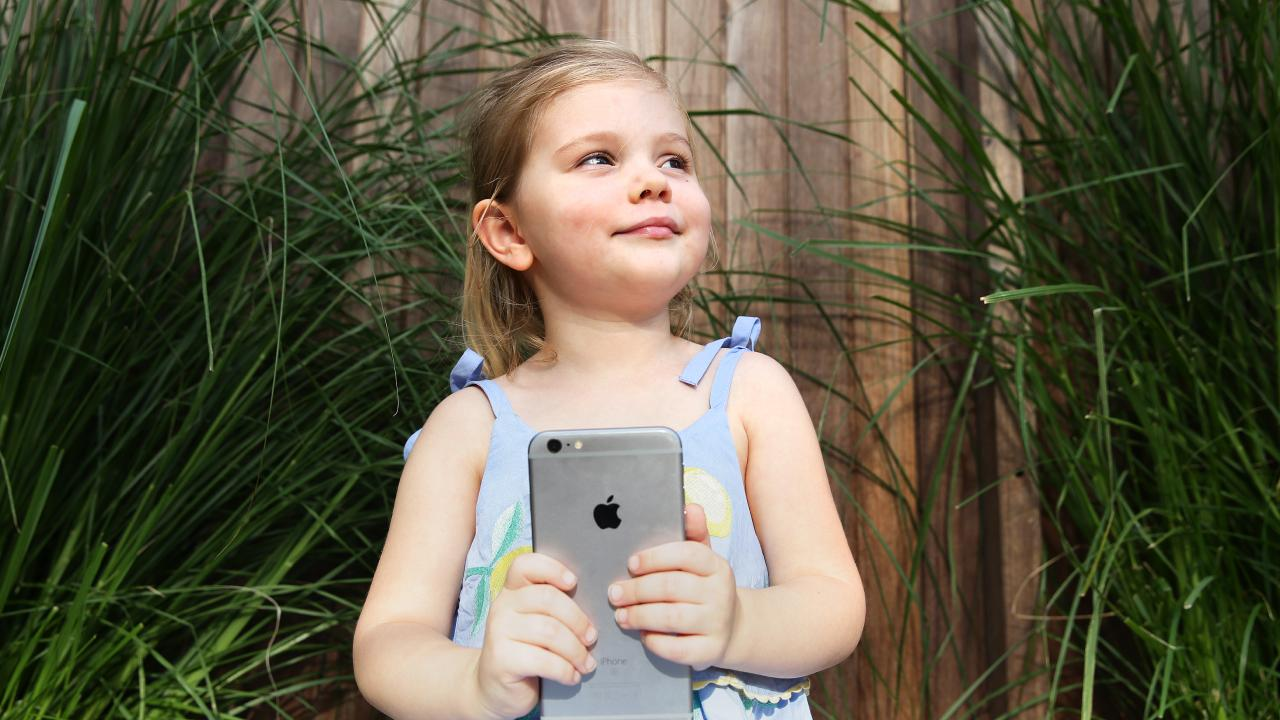 Three-year-old Poppy De Clara should have no more than one hour a day of screen time, according to the guidelines. Picture: AAP/Claudia Baxter
