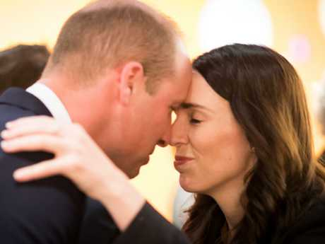 Prince William is greeted with a Hongi, a traditional Maori greeting, by Prime Minister Jacinda Ardern. Picture: Mark Tantrum/The New Zealand Government via Getty Images