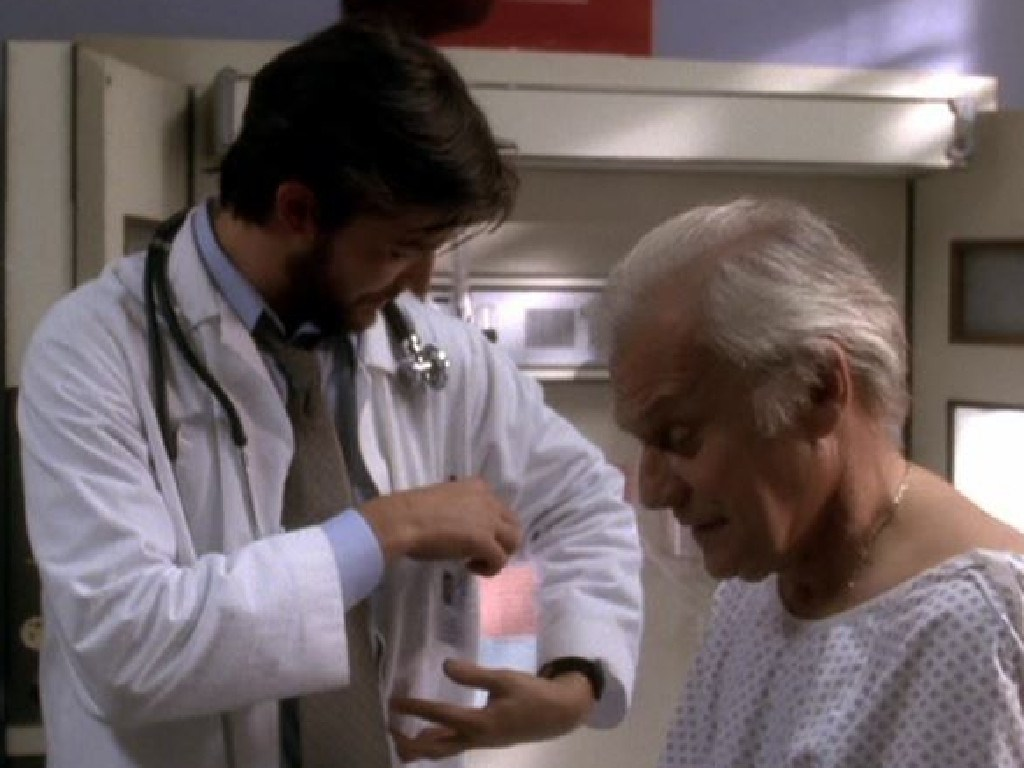 Ken Kercheval and Noah Wyle in an episode of ER.  Picture:  Supplied