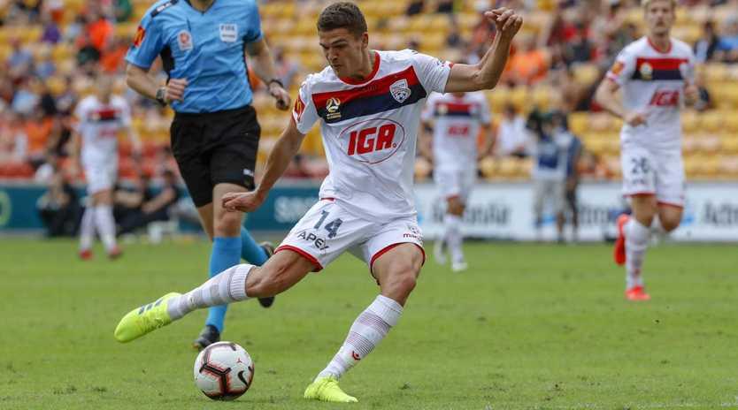 George Blackwood scored Adelaide United's second goal against Brisbane Roar. Picture: AAP Image/Glenn Hunt