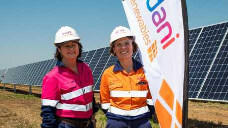 Isaac Regional Council mayor Anne Baker (left) with Adani Renewables CEO Dr Jennifer Purdie at the Rugby Run solar project near Moranbah in central Queensland, last year.