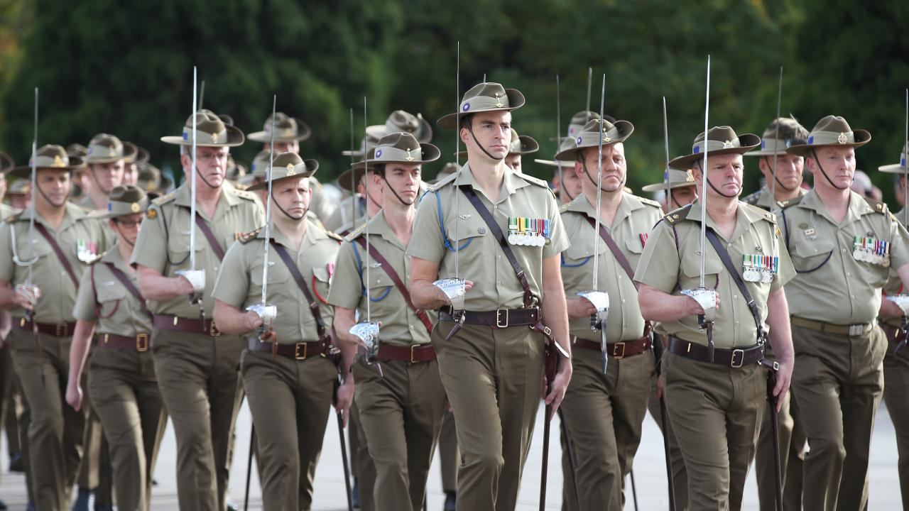 Army personnel take part in the Anzac Day march in Melbourne. Picture: AAP