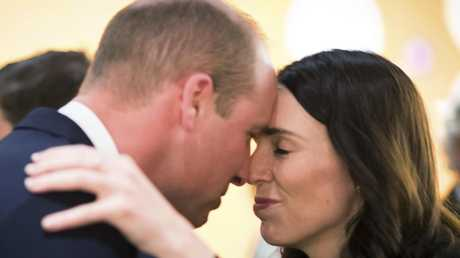 Britain's Prince William and New Zealand's Prime Minister Jacinda Ardern attend an Anzac Da service at Auckland War Memorial Museum in Auckland. Picture: AP