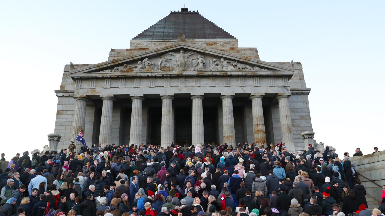 Crowds gather in front of the Shrine of Remembrance in Melbourne. Picture: AAP