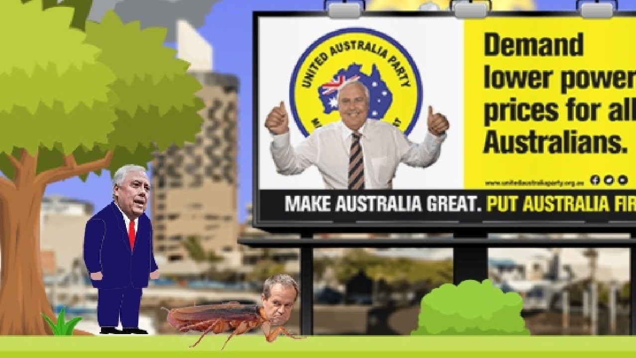 This screenshot from Clive Palmer's new video game features Bill Shorten as a cockroach. Picture: Supplied