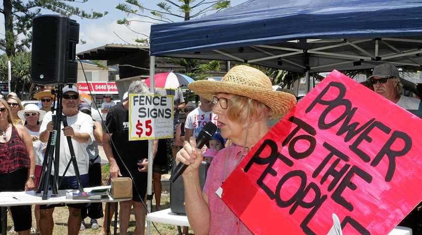PEOPLE POWER: Former councillor Vivien Griffin in protest mode.