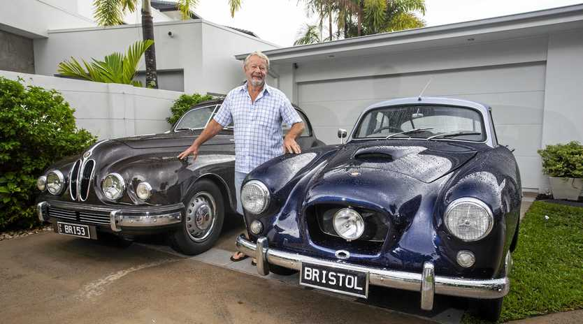 CLASSICS: Noosa's Rob van Wegen with two of his briillian Bristols going on show this week.